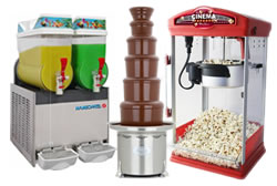 Classic Catering Favourites like Candy Floss, Popcorn, Chocolate Fountains & Slush Machines!